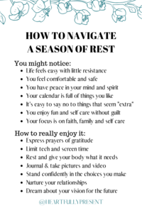 Seasons change | Season of rest | Quick tips for managing a season of rest